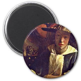Fille avec une cannelure, par Vermeer Van Delft Magnet Rond 8 Cm