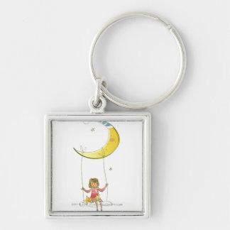 Fille balançant sur une corde pendant du croissant porte-clé carré argenté