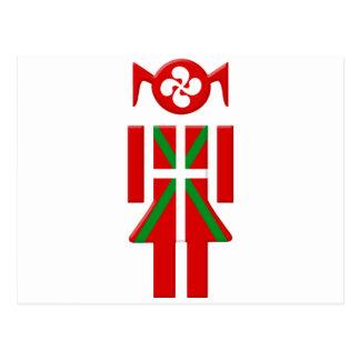 Fille Basque drapeau Euskadi Bayonne Carte Postale