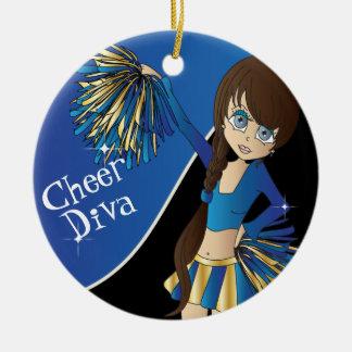 Fille bleue de pom-pom girl de diva d'acclamation ornement rond en céramique