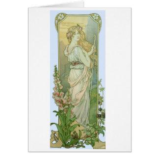 Fille blonde avec des fleurs dans ses cheveux carte de vœux