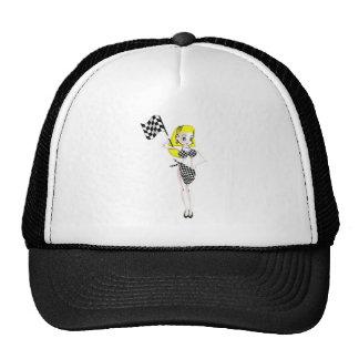 Fille blonde de drapeau casquette de camionneur
