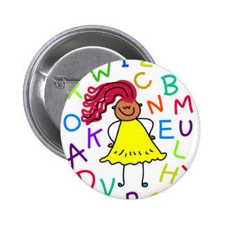 Fille d alphabet badge avec épingle
