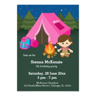 Fille d'anniversaire de camping carton d'invitation  12,7 cm x 17,78 cm