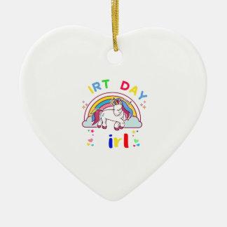 Fille d'anniversaire de licorne ornement cœur en céramique