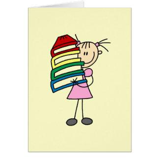 Fille de bâton avec des livres cartes de vœux