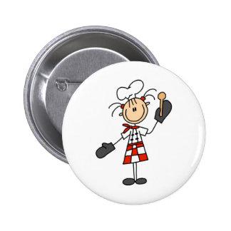 Fille de chef avec les boutons en bois de cuillère pin's avec agrafe