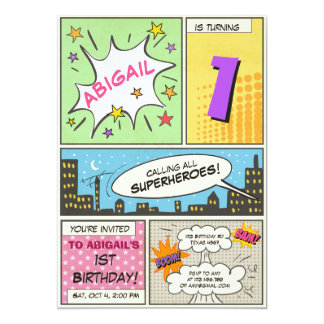 fille de cru de bande dessinée d'invitation carton d'invitation  12,7 cm x 17,78 cm