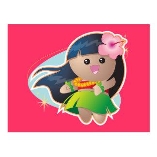 Fille de danse polynésienne carte postale