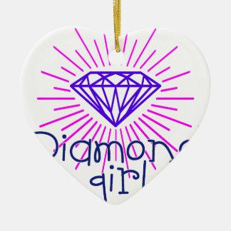 fille de diamant, briller de gemme ornement cœur en céramique