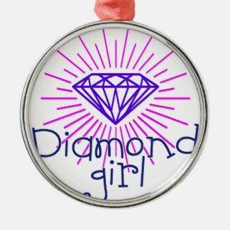 fille de diamant, briller de gemme ornement rond argenté