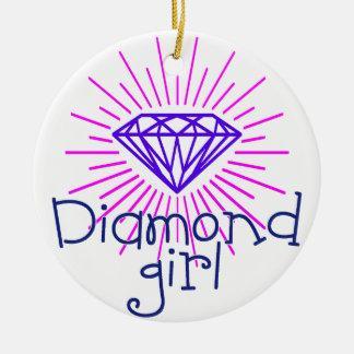 fille de diamant, briller de gemme ornement rond en céramique