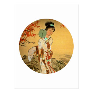 Fille de geisha avec la fan carte postale