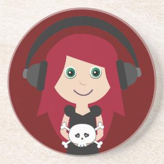 Fille de Goth avec les écouteurs et le crâne Dessous De Verre
