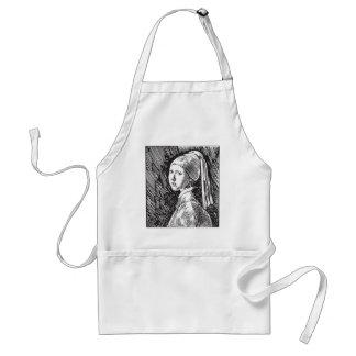 Fille de Johannes Vermeer avec une boucle d'oreill Tablier