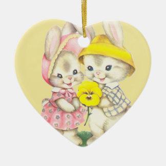 Fille de lapin+Garçon Ornement Cœur En Céramique