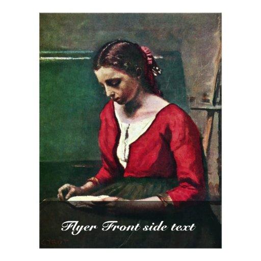 Fille de lecture au Jersey rouge par le Jean-Bapti Prospectus Customisé