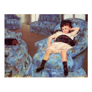 Fille de Mary Cassatt en beaux-arts bleus de Cartes Postales
