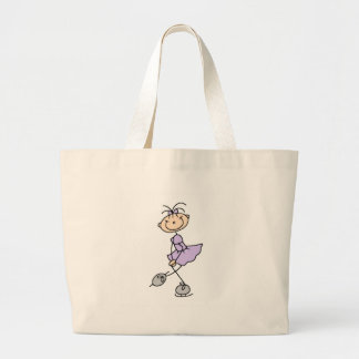 Fille de patinage de glace dans le sac lilas