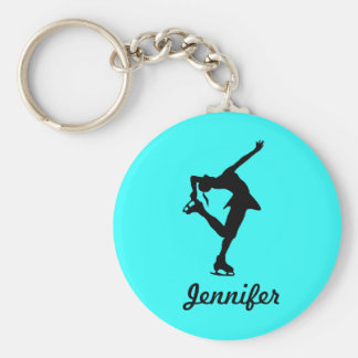 Fille de patineur artistique et porte - clé de nom porte-clé rond