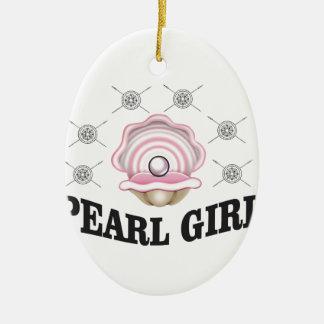 fille de perle de guerrier ornement ovale en céramique