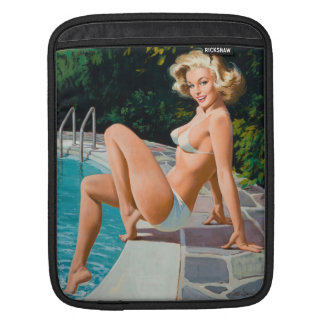 Fille de pin-up blonde sexy de piscine à la rétro poches pour iPad