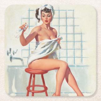 Fille de pin-up de salle de bains sexy de pigeon dessous-de-verre carré en papier
