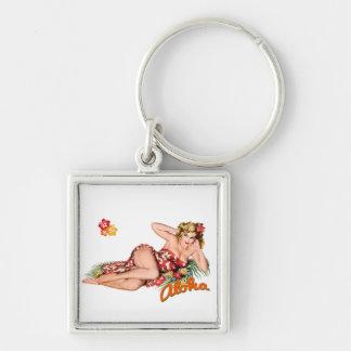 Fille de pin-up jolie, blonde sexy d'île porte-clé carré argenté