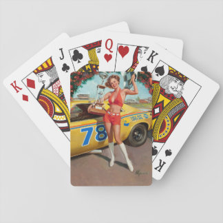 Fille de pin-up vintage de trophée de voiture de jeu de cartes
