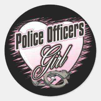 Fille de policiers sticker rond