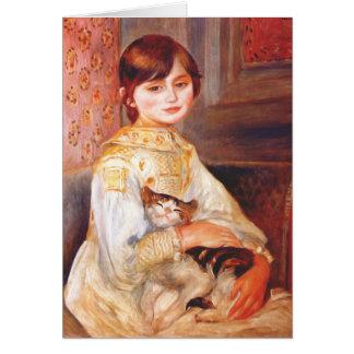 Fille de Renoir avec la carte de voeux de chat