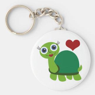 Fille de tortue porte-clé rond