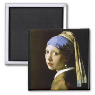 Fille de Vermeer avec des beaux-arts de boucle d o Magnets