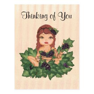 Fille de vigne de Quantum Cutie pensant à vous Carte Postale