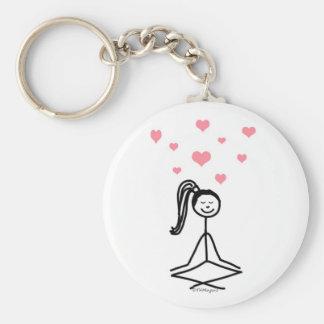 Fille de yoga porte-clé rond