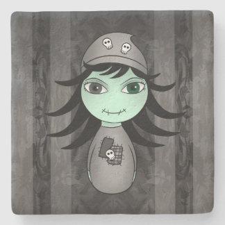 Fille de zombi de Halloween Dessous-de-verre En Pierre