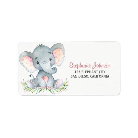 Fille d'éléphant d'aquarelle étiquette d'adresse