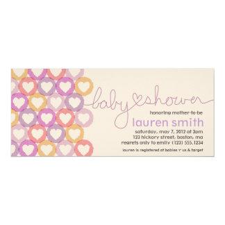 Fille d'invitation de coeur de baby shower carton d'invitation  10,16 cm x 23,49 cm