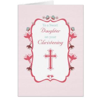 Fille douce de baptême sur le rose carte de vœux