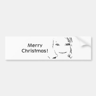 Fille douce, portrait blanc noir, Joyeux Noël Autocollant Pour Voiture