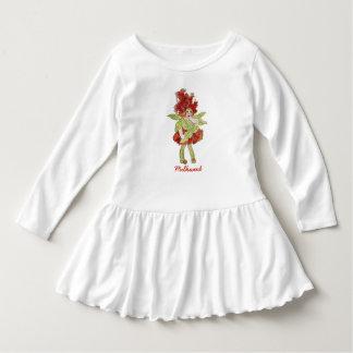Fille drôle florale mignonne d'enfant de fleur de robe manches longues