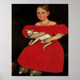 Fille en rouge avec son chat et chien poster