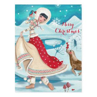 Fille esquimaude d'hiver magique - cartes postales