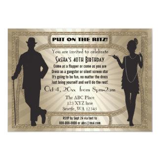 Fille et bandit d'hurlement d'aileron de l'art carton d'invitation  12,7 cm x 17,78 cm