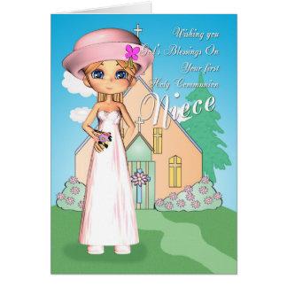 Fille et église de première sainte communion de cartes