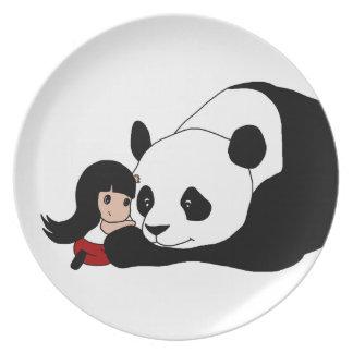 Fille et panda assiettes en mélamine