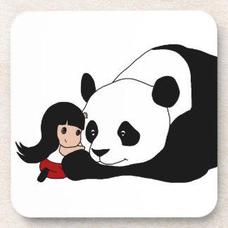 Fille et panda dessous-de-verre
