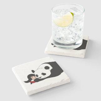 Fille et panda dessous-de-verre en pierre
