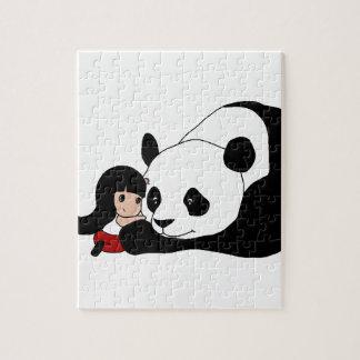 Fille et panda puzzle