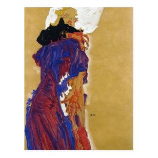 Fille étendue d'Egon Schiele- sur un coussin Carte Postale